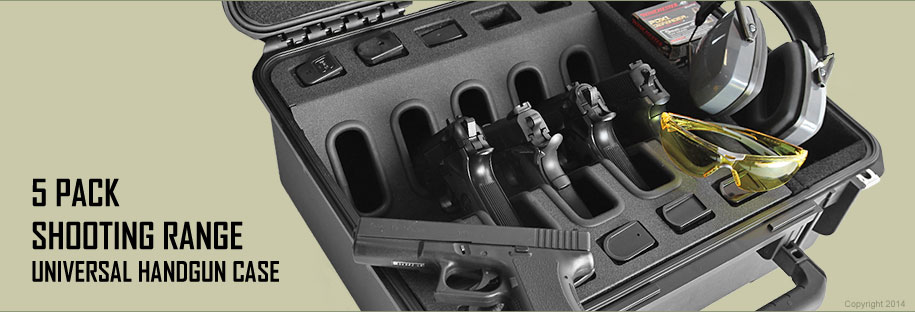 Universal Shooting Range Handgun Case 5 Pack